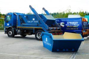 Blue skip truck skip hire van removal